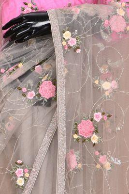 Tea Green Resham Embroidered Net Saree-PC2393