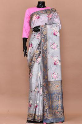 Slate Blue Printed Tussar Silk Saree-PC2617
