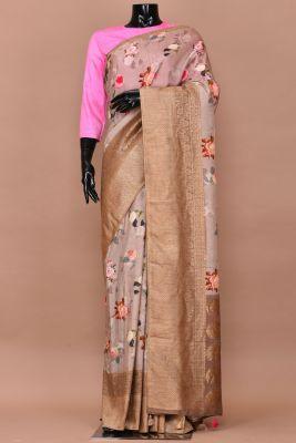Beige Printed Tussar Silk Saree-PC2628