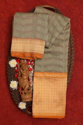 Sage Green & Fossil grey Zari woven Banarasi Silk Saree-PC2772