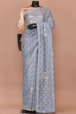Fossil Grey Thread Embroidered Net Saree-PC3016