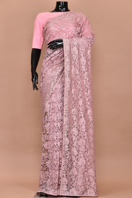 Mauve Pink Thread Embroidered Net Saree-PC3019