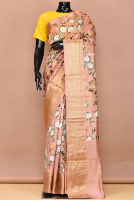 Multicolour Printed Tussar Silk Saree-PC3024