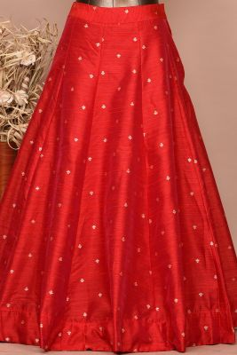 Scarlette Red Gota Embroidered Raw Silk Party wear Lehenga-PC3446
