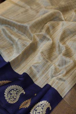 Cream Zari Woven Banarasi Organza Saree-PC3593