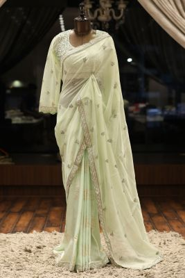 Mint Green Cutdana Embroidered Organza & Tussar Silk Saree-PC3751
