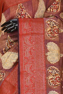 Purple & Brown Printed Tussar Silk Saree-PD1518