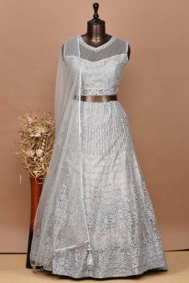 Ash Grey Dori Embroidered Net Partywear Lehenga-PD1757