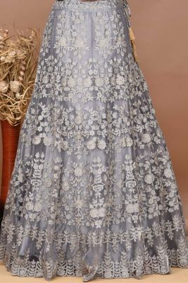 Ash Grey Net Stone Embroidered Partywear Lehenga-PD1762
