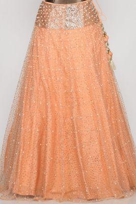 Peach Sequins Embroidered Net Lehenga-PD3740