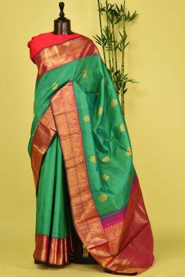 Green Dual Tone Zari Woven Kanchipuram Silk Saree-PD4479