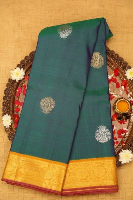 Green & Blue Dual Tone Zari Woven Kanchipuram Silk Saree-PD4497