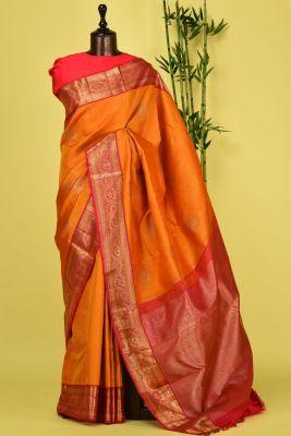 Sunglow Orange Zari Woven Kanchipuram Silk Saree-PD4498