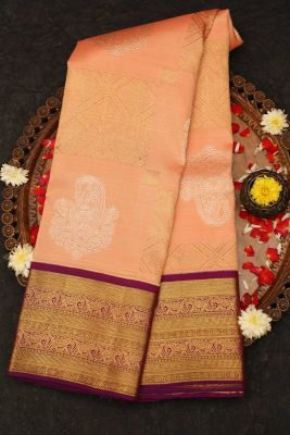 Peach Pink Zari Woven Kanchipuram Silk Saree-PD4509