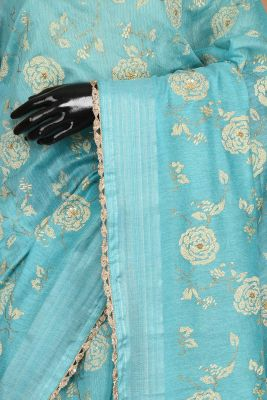 Turquoise Blue Printed Linen Saree-PE1225