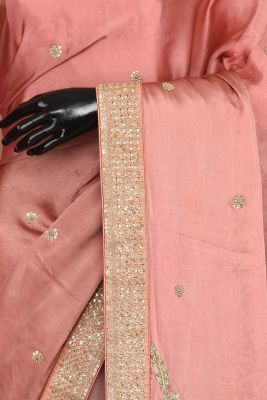 Old Rose Pink Dori Embroidered Satin & Net Saree-PE1252