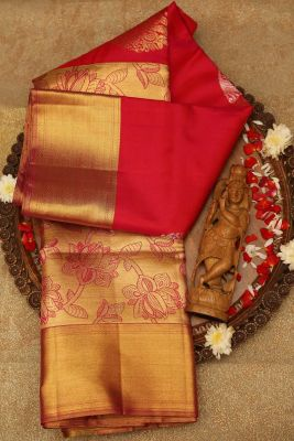 Pink & Orange Dual Tone & Gold Zari Woven Kanchipuram Silk Saree-PE1506