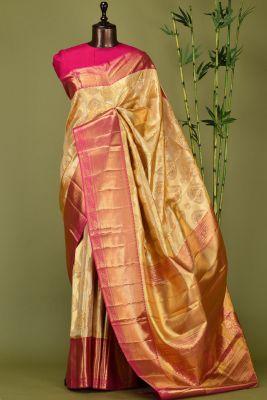 Gold & Silver Zari Woven Kanchipuram Silk Saree-PE1507