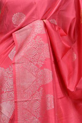 Coral Pink Zari Woven Kanchipuram Silk Saree-PE1522