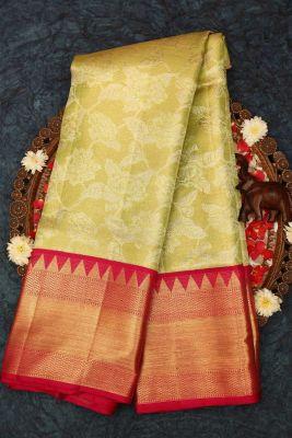Green & Gold Zari Woven Kanchipuram Silk Saree-PE1541