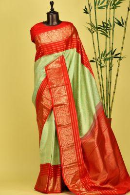 Screemin Green Zari Woven Kanchipuram Silk Saree-PE1579