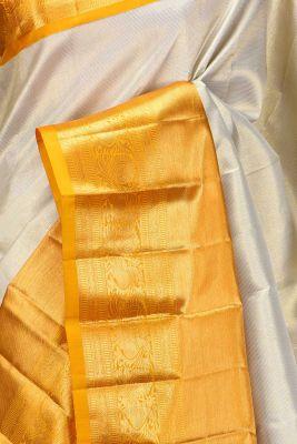 Linen Beige Zari woven Kanchipuram Silk Saree-PE1587