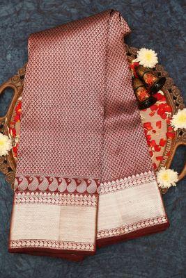 Red & Black Dual Tone Zari Woven Kanchipuram Silk Saree-PE1593