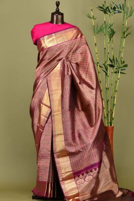 Mulberry Pink Zari woven Kanchipuram Silk Saree-PE1600