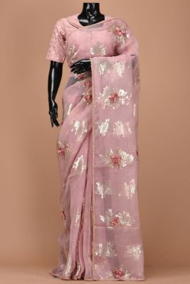 Lavender Pink Sequins Embroidered Organza Saree-PE1659