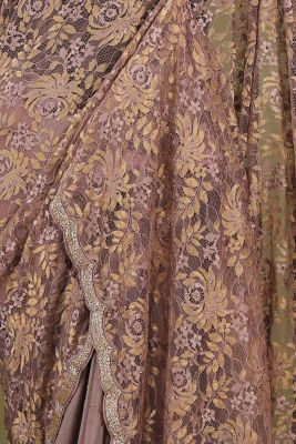 Mauve Stone Embroidered Lace Saree-PE1897