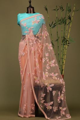 Peach Thread Embroidered Net Saree-PE1907
