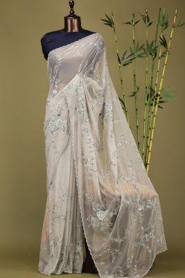 Laurel Green Resham Embroidered Net Saree-PE1911