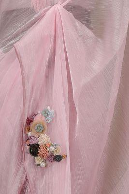Lavender Pink Applique Embroidered Organza Saree-PE1934