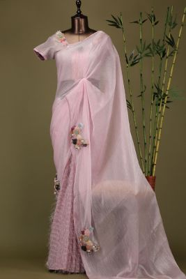 Lavender Pink Applique Embroidered Organza Saree-PE1934