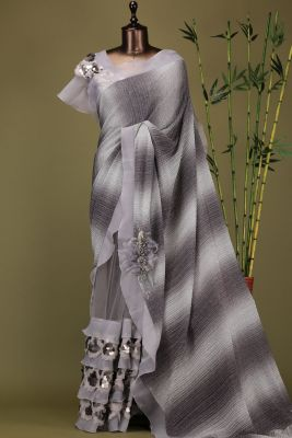 Shaded Grey Sequins Embroidered Lycra Saree-PE1935