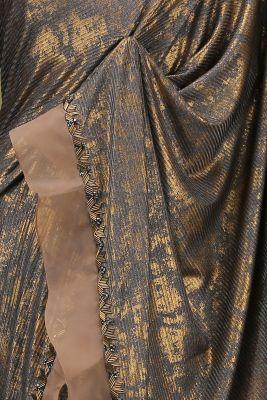 Grey & Gold Foil Printed Lycra Saree-PE1937