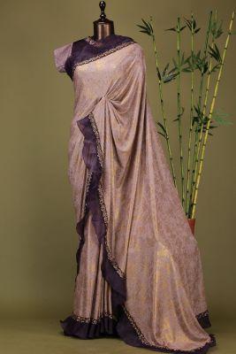Old Rose Pink Cutdana Lycra Saree-PE1943