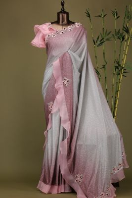 Pink & Grey Shaded Sequins Embroidered Lycra Saree-PE1945