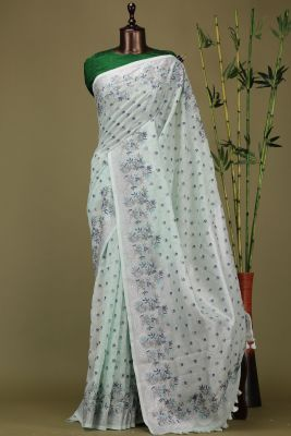 Mint Green Thread Embroidered Linen Saree-PE1972