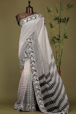 Grey & Black Lace Embroidered Linen Saree-PE1975