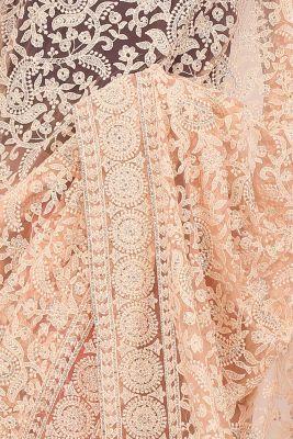 Brink Peach & Off White Thread Embroidered Net Saree-PE2266