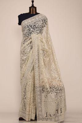 Tea Green & Off White Thread Embroidered Net Saree-PE2267