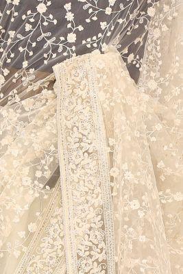 Vanilla White Thread Embroidered Net Saree-PE2277