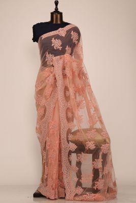 Peach Dori Embroidered Net Saree-PE2288