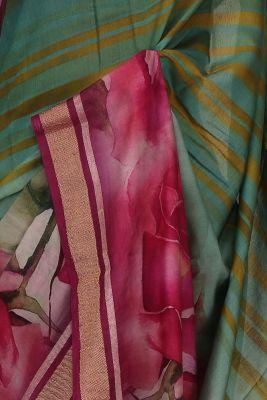 Green & Pink Printed Cotton Saree-PE2380