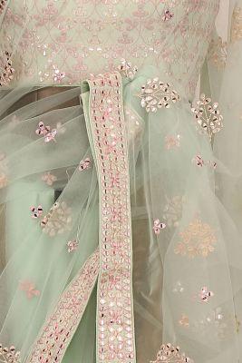 Sea Green Thread Embroidered Net Saree-PE2479