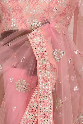 Rose Pink Thread Embroidered Net Saree-PE2480