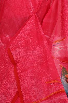 Punch Pink Printed Crepe Saree-PE2632