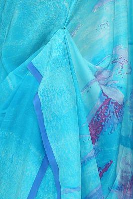 Aqua Blue Printed Crepe Saree-PE2633