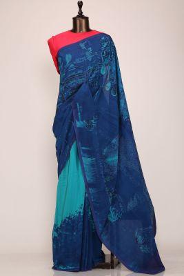 Shaded Blue Printed Crepe Saree-PE2640